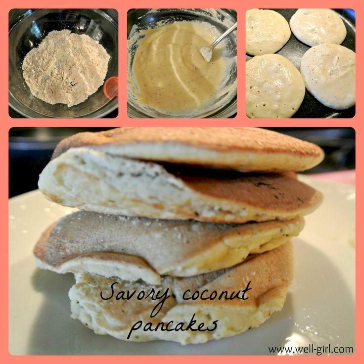 Savory Coconut Pancakes: 1 egg, 1 egg white, 3/4 cup almond milk, 1/4 ...