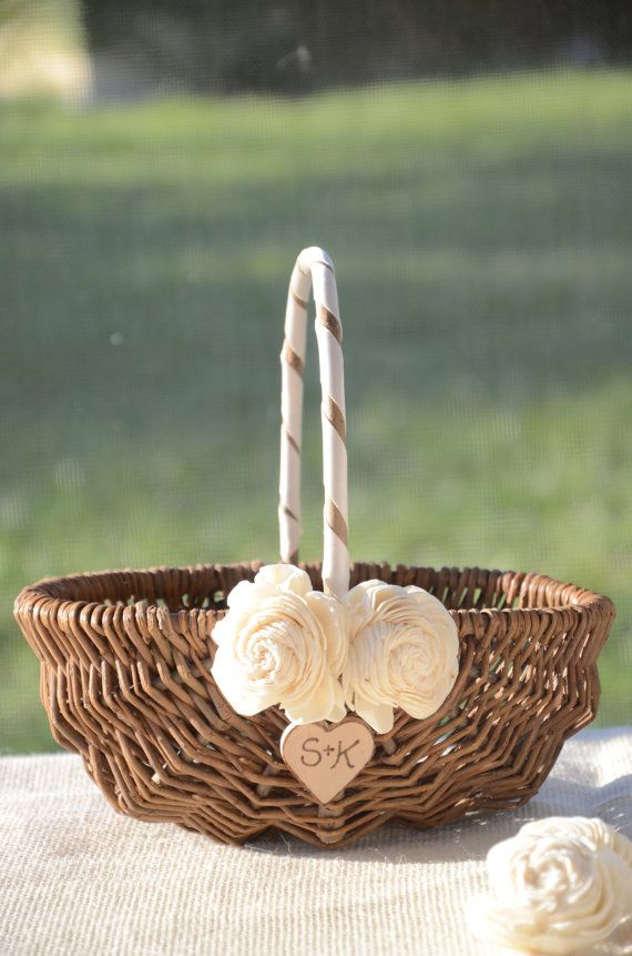 Flower girl baskets pictures : Personalized rustic chic flower girl basket by