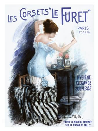 A beautifully illustrated French ad from 1910 for corsets. #1910s #Edwardian #French #ad #vintage #corset