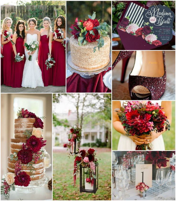Black gold maroon wedding