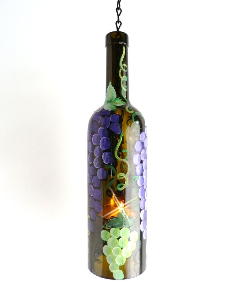 Tuscan Purple Green Grapes Wine Bottle Candle Holder