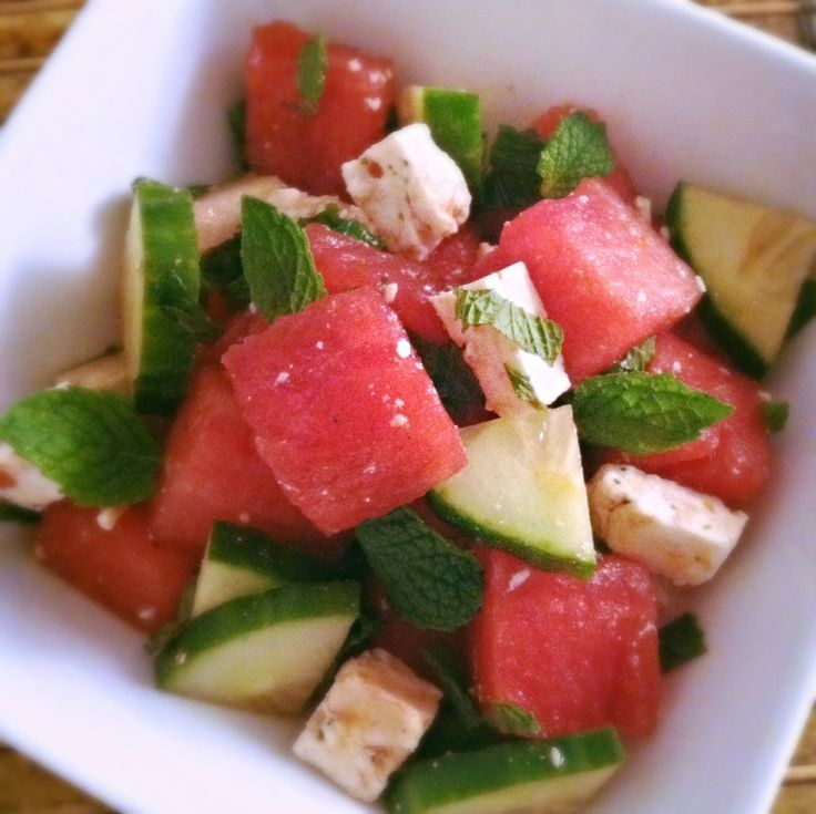 watermelon salad with cucumber, tomato and basil feta cheese ...