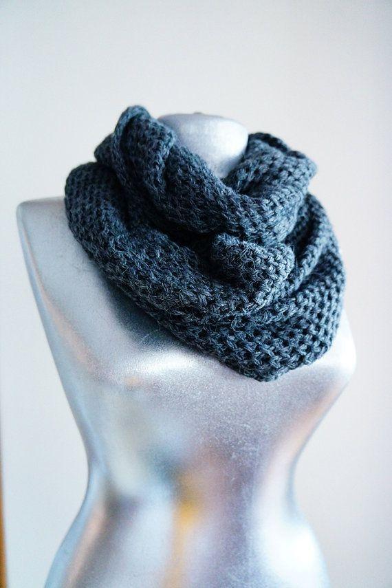handmade knitting infinity scarf cotton wool yarn gray