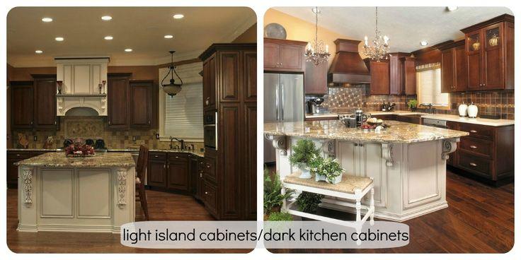 White island, dark cabinets  Kitchen