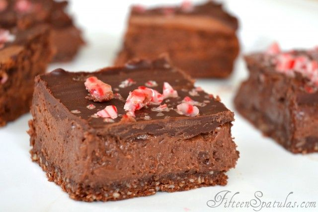 Chocolate Cheesecake Candy Cane Bars- Christmas Party Cookies!