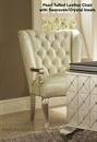 Cream leather chair with swarovski crystals and and matching silver and swarovski crystal desk