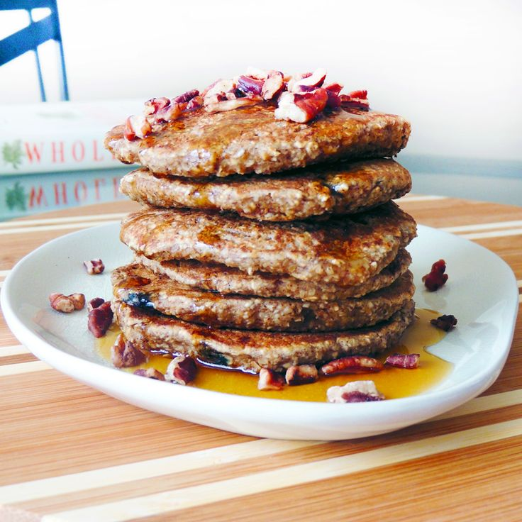 Bowl of Oatmeal Banana Pecan Blueberry Pancakes