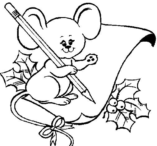 santa mouse coloring pages - photo#3