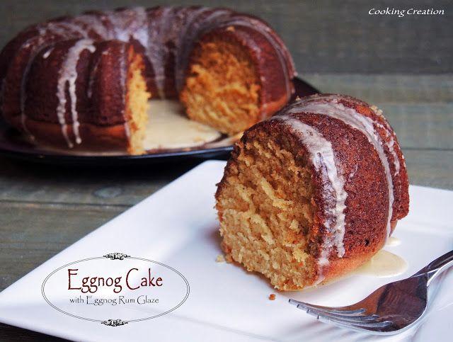 Holiday Eggnog Cake with Eggnog-Rum Glaze