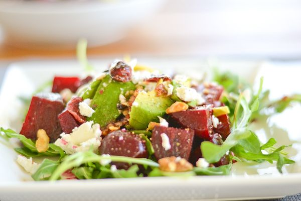 Beet, Avocado and Goat Cheese Arugula Salad - http://www.diypinterest ...
