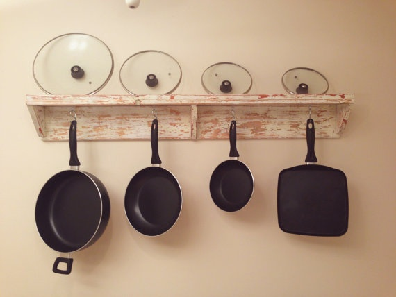 Distressed wall mount pot pan rack hand made out of for Reclaimed wood pot rack