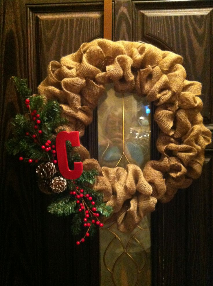 My burlap christmas wreath holiday ideas pinterest Burlap xmas wreath
