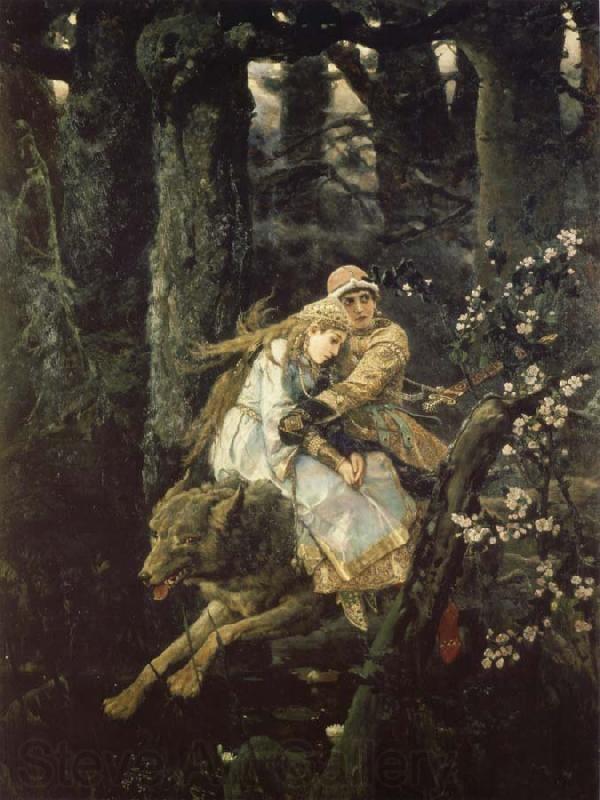 Ivan the tsarevich riding the grey wolf by viktor vasnetsov