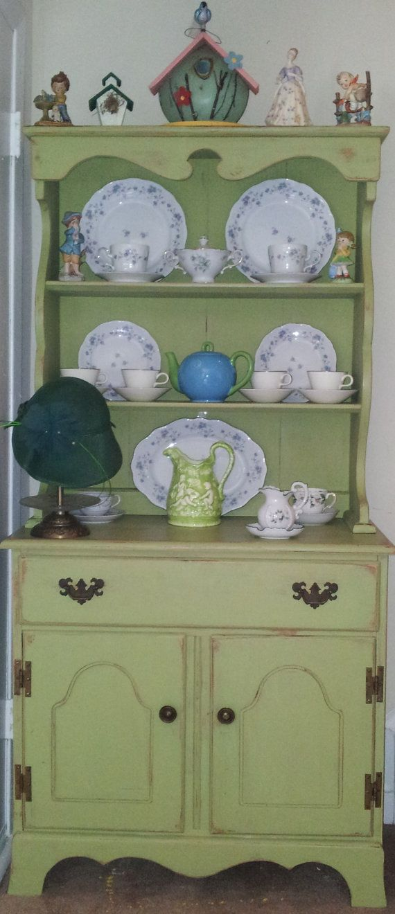 Olive Green Vintage Shabby Chic Hutch Antique Hardware