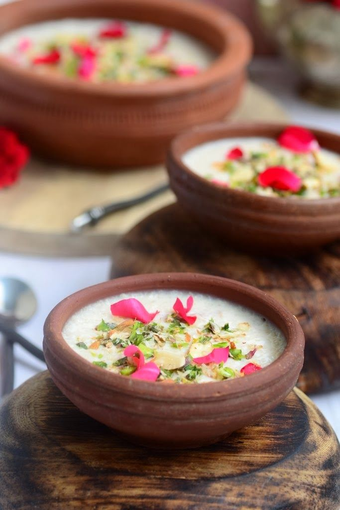 Gulab Phirni. An Indian rice pudding flavored with rose.