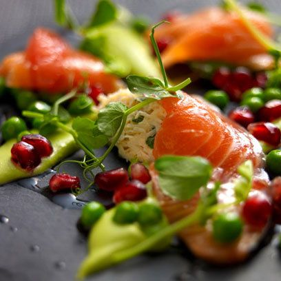 Salad of Citrus Cured Salmon with English Peas: Recipes: Food