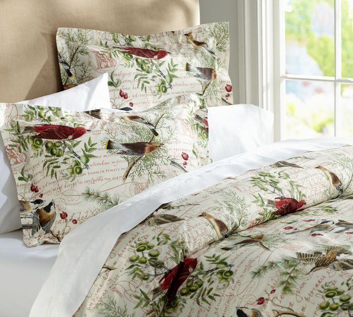 Winter birds printed quilt bedroom linen items pinterest - Pottery barn holiday bedding ...