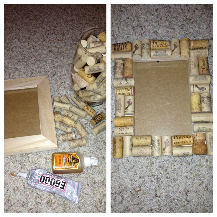 DIY wine cork picture frame  For the Home  Pinterest