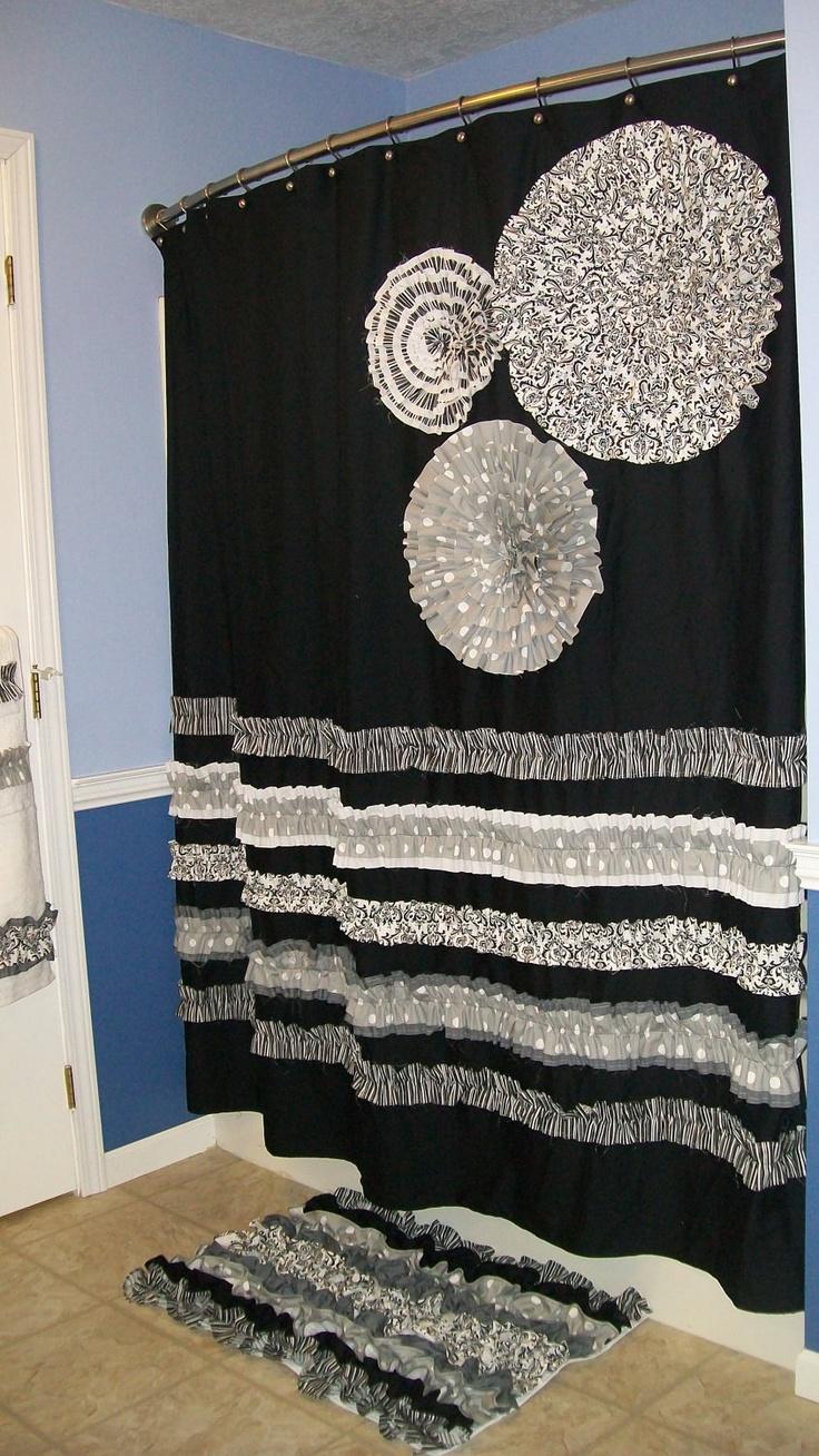 Shower curtain custom made designer fabric ruffles and flowers black