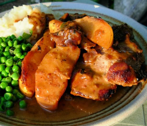 Pan Fried Pork Chops With Glazed Apples, Cider and Cream Sauce   Reci ...