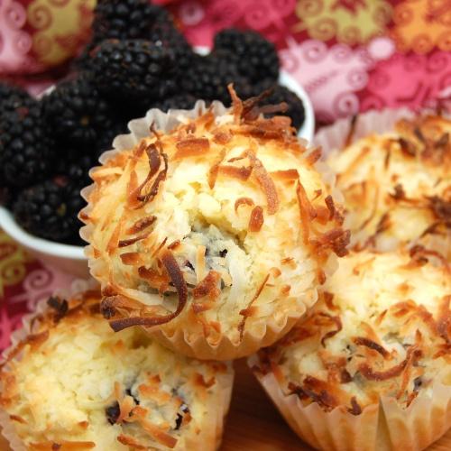 Blackberry Coconut Pound Cake Muffins