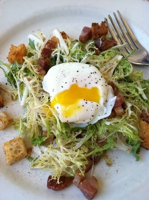 Frisee salad with lardons and poached egg. Heaven. One of my go-to ...