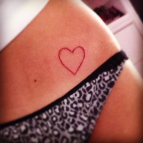 Cute simple pink heart tattoo for Pink heart tattoo