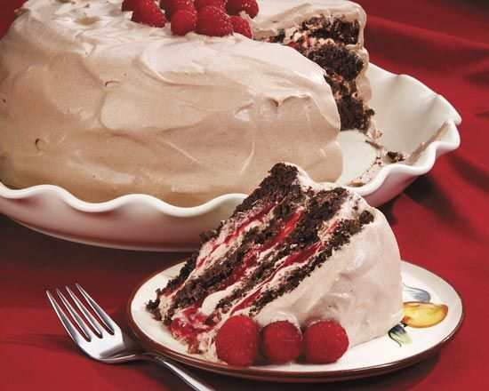 Chocolate Raspberry Layer Cake with Hot Chocolate Whipped Cream ...