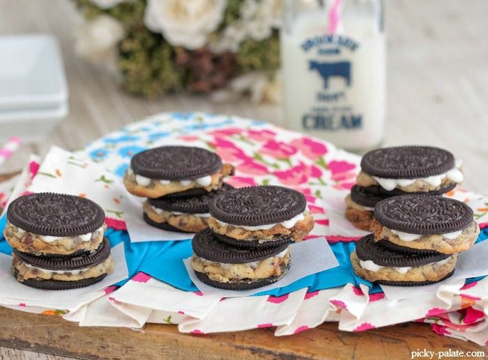Chocolate Chip Cookie Stuffed Oreos Warm Baked Chocolate Chip Cookie ...