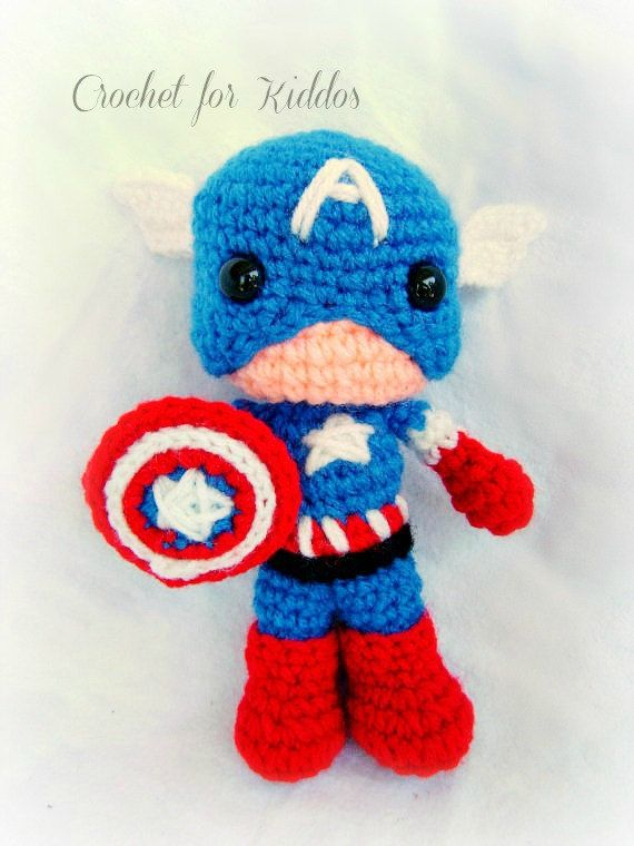 Captain America Knitting Pattern : Crochet PATTERN Captain America Crochet toys Pinterest