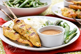 Grilled chicken satay skewers with sweet and spicy peanut sauce — # ...