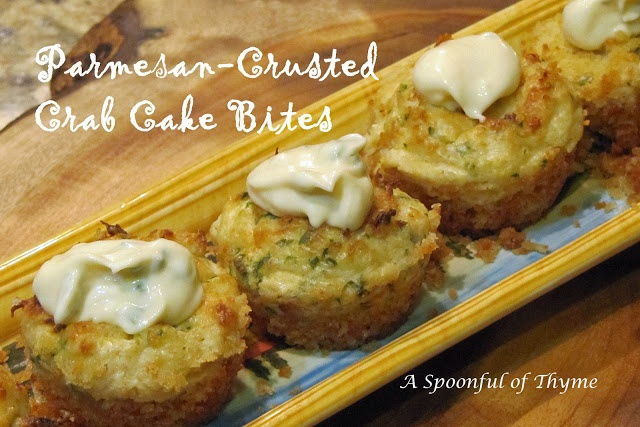 Parmesan-Crusted Crab Cake Bites with Chive Aioli