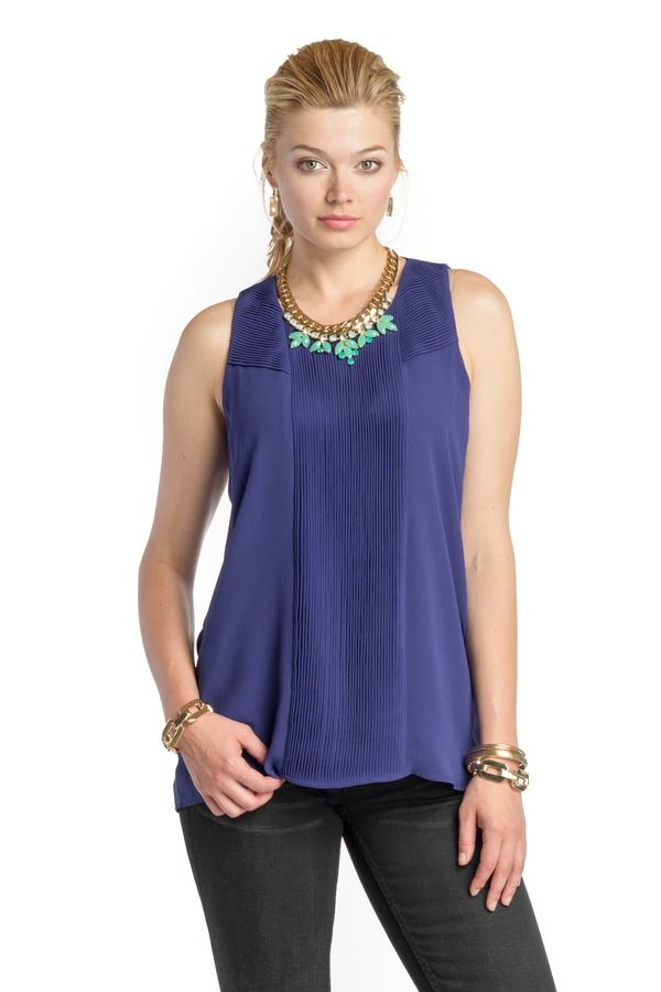 Accordian Pleated Tunic Tank