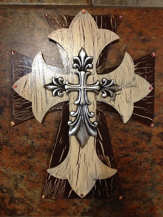 Decorated western cross by grammieself on Etsy, $35.00