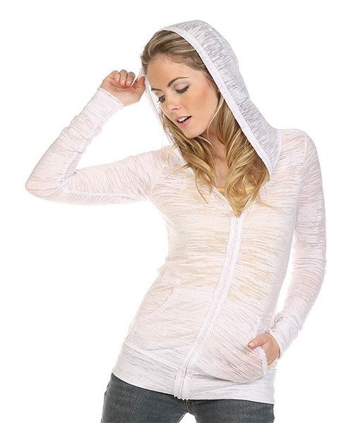 look at the TROO Winter White Burnout Zip-Up Hoodie on #zulily today