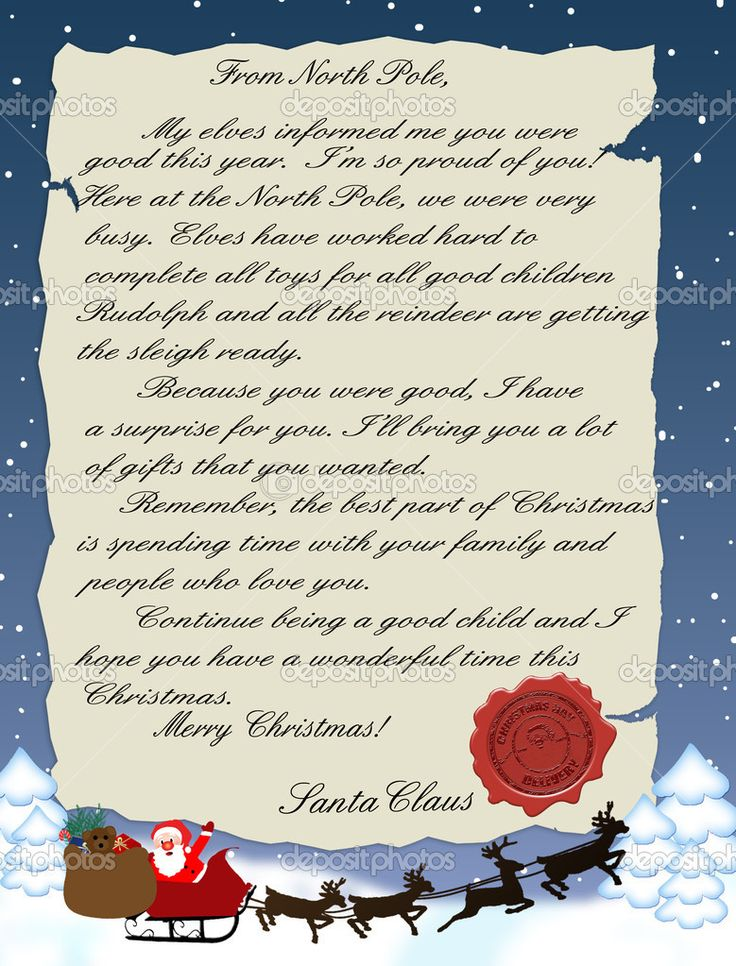 Sample Letters From Santa Claus   Letter from Santa Claus   Stock ...