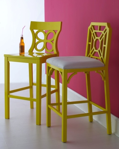 cute bar stools-love the different patterns! maybe go with a neutral ...
