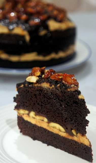 ... , sliced bananas and Chocolate Ganache topped with Almond Praline