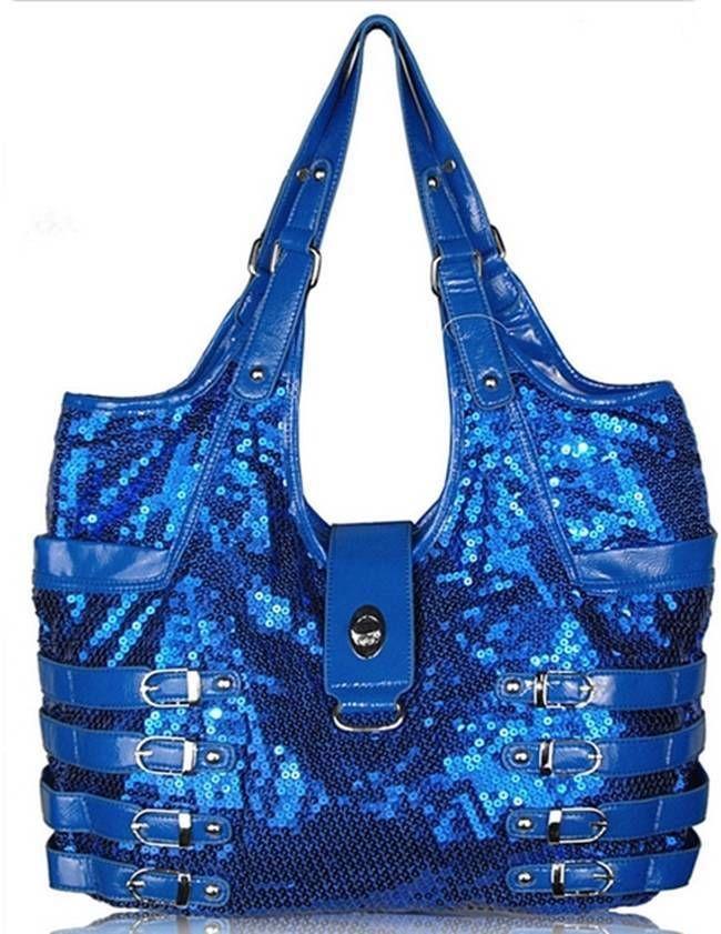 Cobalt Blue Sequinned and Patent Shoulder bag