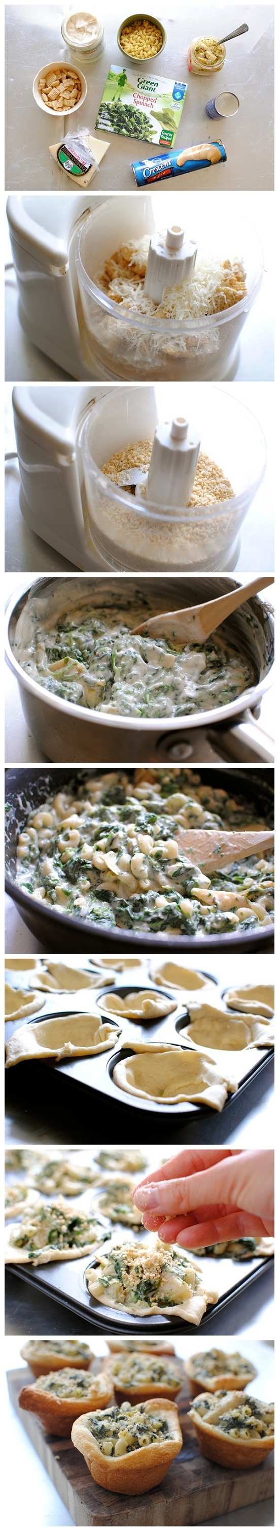 Spinach And Artichoke Mac 'n Cheese Cups Recipe — Dishmaps