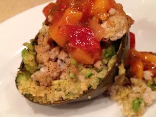 ... avocado with ground pork (or turkey or beans), quinoa, and salsa
