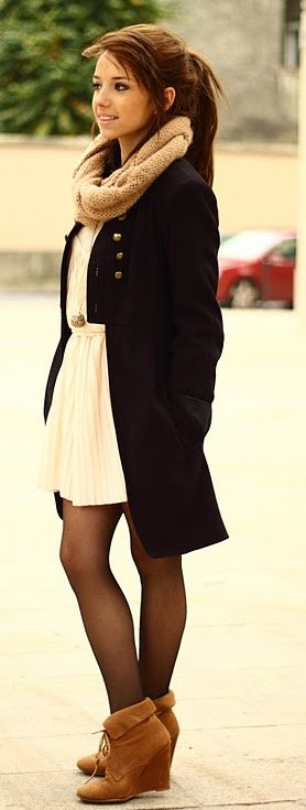 Peacoat, sheer tights, loop scarf, and booties. Such a cute winter outfit!