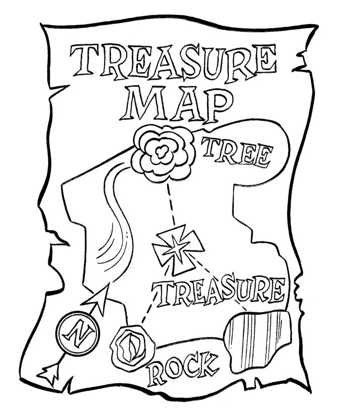 Pirate Theme Treasure Map Coloring Pg Pirate Birthday Pirate Themed Coloring Pages