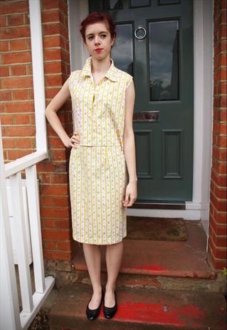 Lemon rosebud stripe 1960s top and skirt set