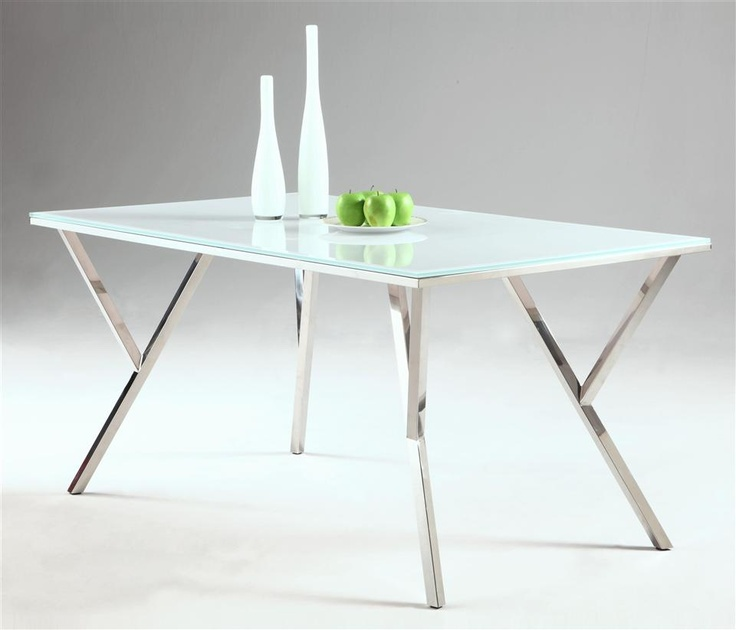 Rectangular glass dining table kitchen table bases for Kitchen table base ideas