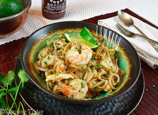 Pad Thai with Shrimp Recipe @Savoring Today -- Quick & Easy Meal