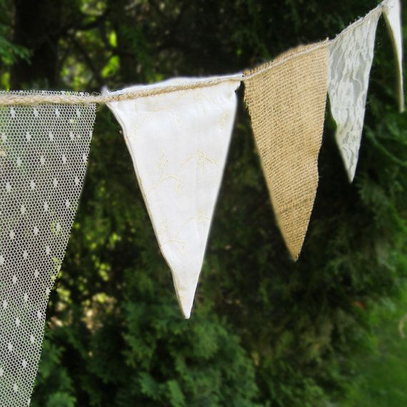 Rustic Burlap and lace, 5 ft banner fabric bunting - G104, rustic burlap photo prop party decor