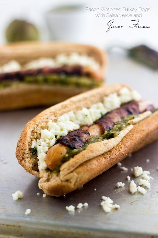 Healthy Bacon Wrapped Hot Dog with Salsa Verde and Queso Fresco | Food ...