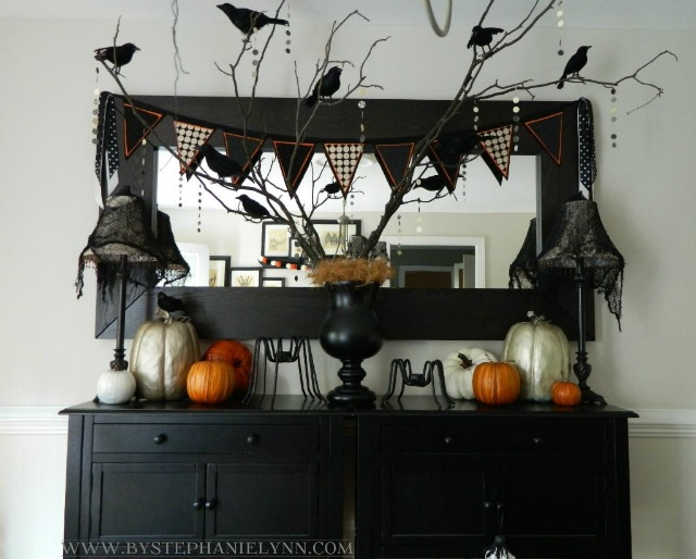 Halloween dining room buffet console decor my faux