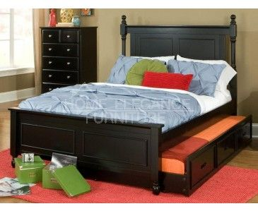 Morelle black full size bed w trundle boys 39 room for Boys full size bed